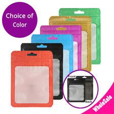 4x6in White Inner Matte Color Mylar Ziplock Bag w/ Clear Window & Euro Slot M4