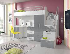 PATI Hochglanz Hochbett mit Schreibtisch, Schrank und Regal in der Treppe  weiß