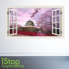 TEMPIO GIAPPONESE Finestra Adesivo Muro Pieno Colore-Camera da letto salotto w94
