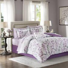 Elegant Bold Grey Purple Grey Floral Comforter Sheets Cal King Queen 9 pcs Set