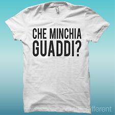 "T-SHIRT "" CHE MINCHIA GUADDI? "" BIANCO THE HAPPINESS IS HAVE MY T-SHIRT NEW"