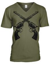 Two Guns Revolvers Six Shooter Old West Wild Duel Shootout Men's V-Neck T-Shirt