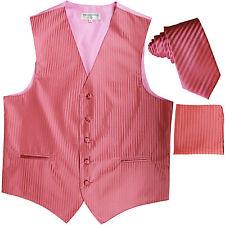 New Men's Formal Vest Tuxedo Waistcoat_necktie set stripes wedding prom coral