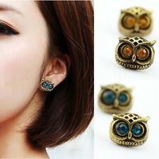 Women's: Antique Gold, Blue Sapphire, Amber Tourmaline 'Wise Owl' Stud Earrings