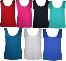 New Ladies Plus Size Laser Cut Scallop Mini Vest Tops 12-26