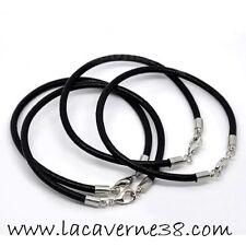 Bracelet mixte cuir noir 20 cm + 5 cm chaîne extension fermoir mousqueton charm