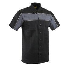 Men's Black & Grey Short Sleeve Mechanic Shirt With Reflective Material  **11672