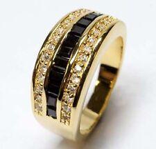 GOLD DOUBLE *** Zirkonia weiß schwarz Ring vergoldet, Größenauswahl