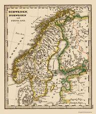 Old Scandinavia Map - Norway, Sweden, Finland - Stieler 1852 - 23 x 27.07