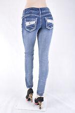 """New Ladies """"AMETHYST"""" Stetchy denim Skinny jeans Dark Vintage wash #WG-107-1"""
