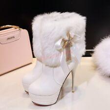Women Fur Platform High Stilettos Heels Round Toe Ankle Boots Shoes Metal Star