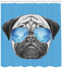 Pug Shower Curtain Portrait with Sunglasses Print for Bathroom