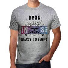 86 Ready to Fight Homme T-shirt Gris Cadeau D'anniversaire