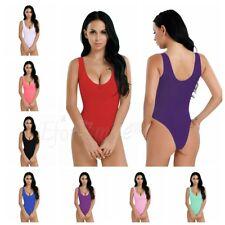 Womens High Cut Thong Bikinis Leotard Mesh Sheer See-through Bodysuit Nightwear
