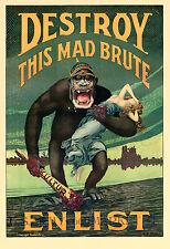 "Harry R. Hopps: ""Destroy this Mad Brute – Enlist"" (1917) — Giclee Fine Art Print"