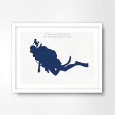 BLUE DEEP SEA DIVER SILHOUETTE SEASIDE ART PRINT Poster Decor Wall A4 A3 A2