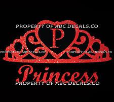 VRS Crown Royal Tiara Queen Princess Heart Love Custom INITIAL P Car Vinyl Decal