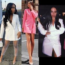 Women Blazer Dress Longline Oversized Jacket Collared Long Sleeves Ladies Blazer