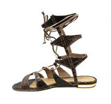 b4b866706dc Schutz Erlina Goat Brown Croc Leather Flat Crisscross Straps Gladiator  Sandals