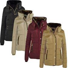 Nouveau Femme Femmes Matelassé Rembourré Bulle fourrure à capuche épais chaud gilet manteau Jkt