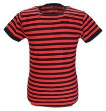 Para Hombre Indie Retro Mod 60s Negro y Rojo Algodón Camiseta..
