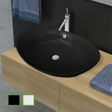 Luxueuse vasque céramique ovale avec trop plein 59 x 38,5 cm Blanc / Noir