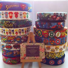 Per Metre Superheroes Grosgrain ribbon 22/25mm Party Cake/ Hair Bows/ Gift Wrap