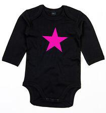 NEON PINK STAR Langarm Body BIO-Baumwolle black
