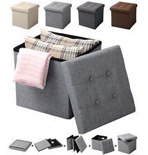 Tabouret pliable pouf coffre Boîte de rangement siège banquette en lin f200