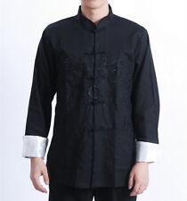 Doppio draghi cinesi orientali da Uomo Kung Fu Lino Dragon Top Camicia Lunga Cmssh 14