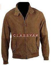 Classyak Men's Fashion Suede Leather Bomber Jacket Brown, Xs-5xl