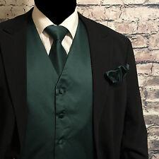Forest Dark Green Men Tuxedo Suit Vest Waistcoat and Neck tie Hanky Set 3pcs set