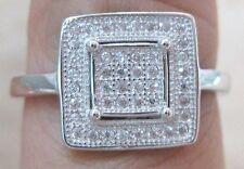 100% REAL 925 Sterling Silver Microsetting Cz SQUARE Ring Sz L N P R women girl