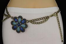 New Women Rusty Gold Belt Metal Chains Big Flower Black Blue Hip Waist S M L