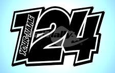 """numeri da corsa e nome DECALCOMANIE ADESIVI GRAFICI """" POW """" (X3) MOTO AUTO"""
