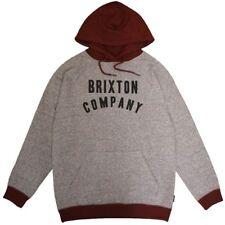 Brixton Barstow Pullover Hoodie Grey Burgundy