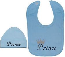 Prince...Baby Feeding Bib & Beanie Hat/Cap Set NB-12M Boy Girl Funny Gift