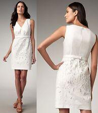 $398 Elie Tahari Sawyer White Eyelet Lace Stretch Cotton Poplin Dress 10