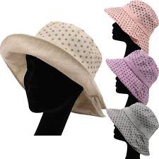LADIES POLKA DOT HAT SHAPEABLE BRIM SPOTTY BEACH SUMMER SUN BUCKET STYLE