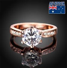 Fashion 18 K Rose Gold Filled Royal Wedding Engagement Clear Zircon Ring