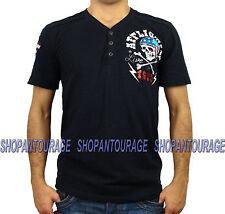 AFFLICTION Devil`s Canyon A9790 New Men`s Henley T-shirt Black