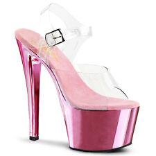 PLEASER SKY 308 CROMO ROSA BABY cinturino alla caviglia plateau scarpe da pole dance
