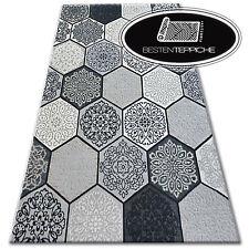 Echte Modischen Teppiche Billig Modern Teppich Stil LISBOA Sechseck Wabe Grau