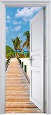 Sticker porte trompe l'oeil Les Tropiques 82x202 cm réf 313