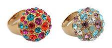 Zest Golden Swarovski Crystals Pave Ring Tri-Colour