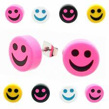 2 x aretes pendientes smiley sonreír rosa turquesa verde negro cara de risa