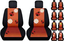 VW Beetle front car seat covers black/burnt orange w/daisy&ladybug,butterfly...