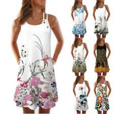 Women Vintage Sleeveless 3D Floral Print Boho Bench Short Mini Dress Top Summer