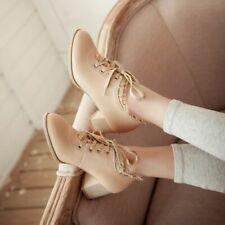 Sweet Womens Lace Shoes Block Mid Heels Lace Up Oxford Pumps Vintage Shoes Size