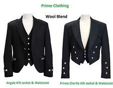 Handmade Scottish Argyle / Prince Charlie kilt Jacket & Waistcoat (Wool Blend)